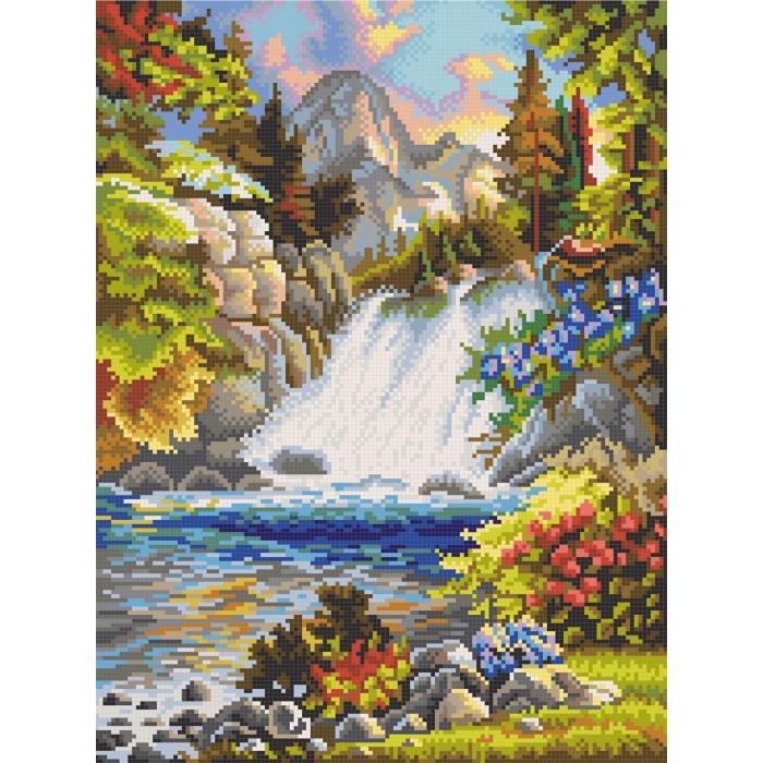 Рисунок на канве КОНЁК арт. 7814 У водопада 29х39 см