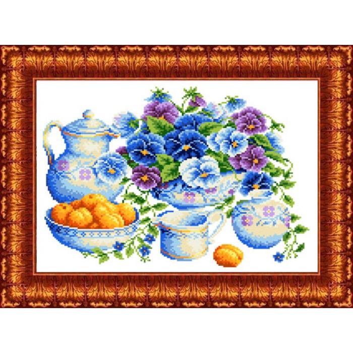 Канва с нанесенным рисунком КАРОЛИНКА арт. КК-038 Голубой букет 23х30 см