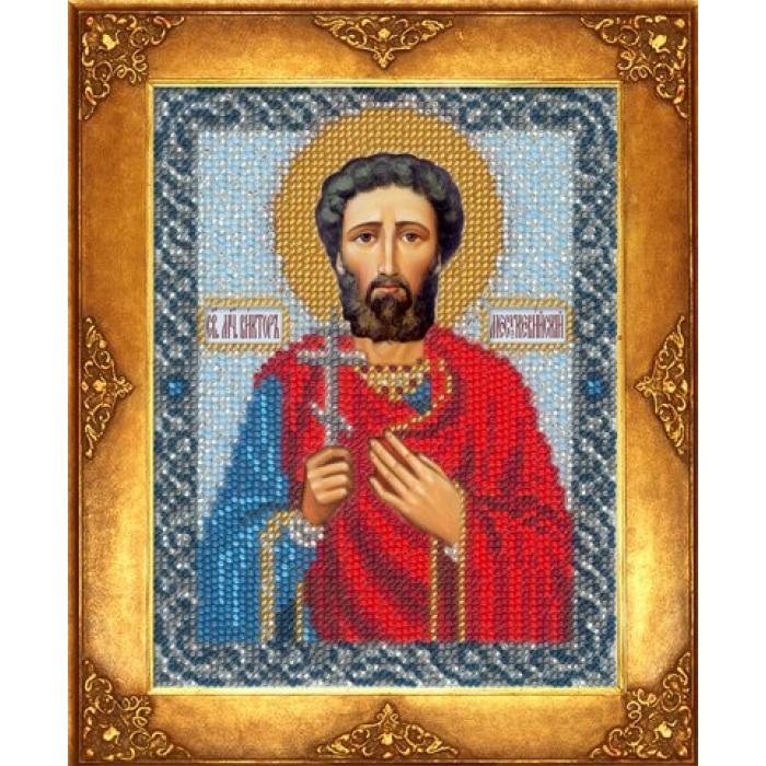 Набор для вышивания бисером РУССКАЯ ИСКУСНИЦА арт.212 БИ Св. Виктор 12,5х16,3 см