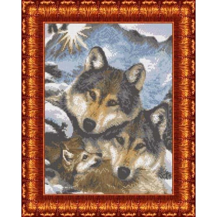 Канва с нанесенным рисунком КАРОЛИНКА арт. КК-002 Семья волков 23х30 см