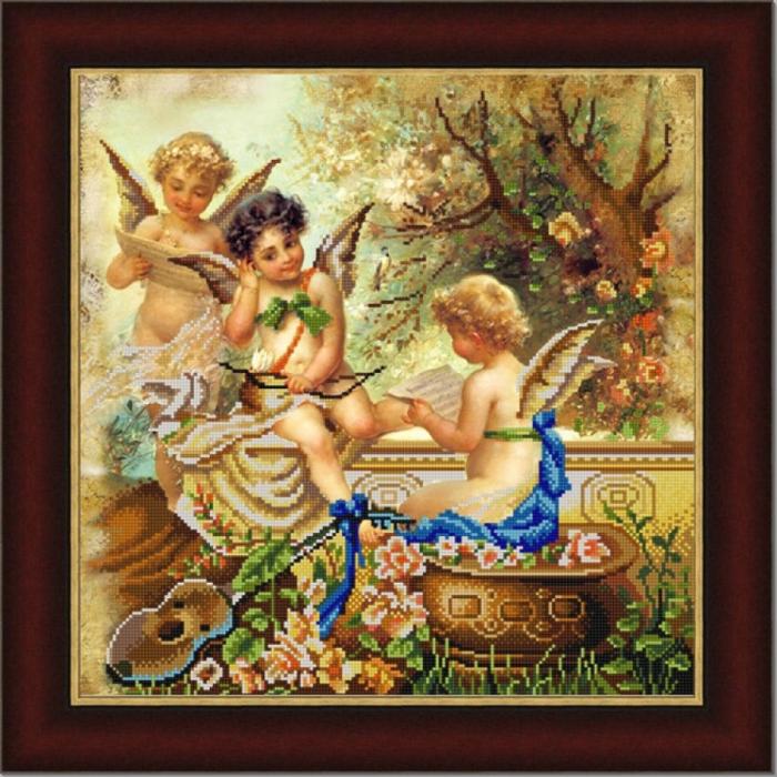 Рисунок на ткани (Бисер) КОНЁК арт. 9886 Купидоны 40х40 см