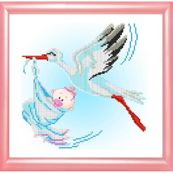 Набор для вышивания бисером СЛАВЯНОЧКА арт. НК-4011 С рождением девочки 20х25 см