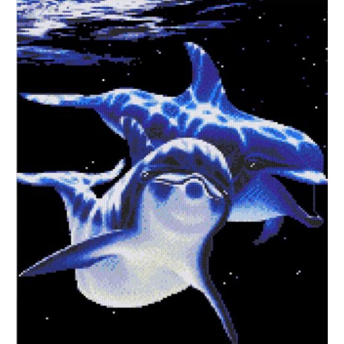 Набор для вышивания мулине НИТЕКС арт.0008 Дельфины 30х35,5 см