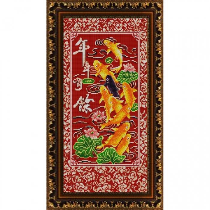 Рисунок на ткани (Бисер) КОНЁК арт. 9909 9 рыбок богатства 25х45 см