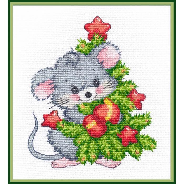 Набор для вышивания ОВЕН арт. 1247 Мышонок с ёлкой 13х16см