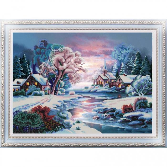 Рисунок на ткани (Бисер) КОНЁК арт. 9940 Зимняя речка 45х60 см