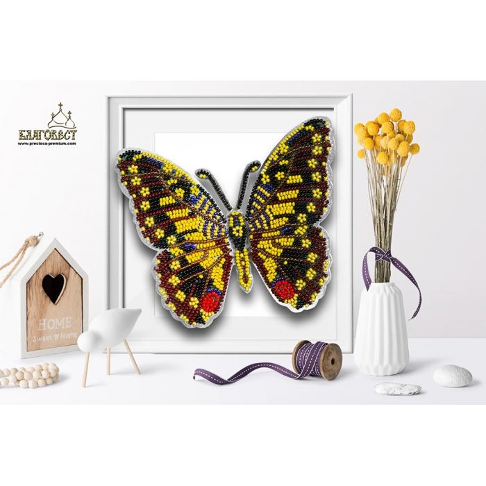 Набор для вышивки бисером 3-D БЛАГОВЕСТ арт.Б-014 Бабочка Парусник Демолей 13,5х11 см