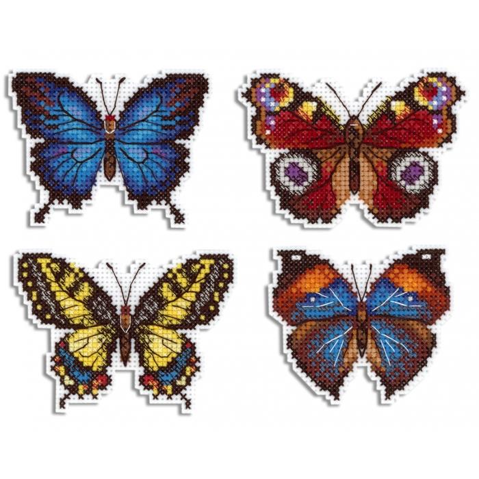 Набор для вышивания ЖАР-ПТИЦА арт.Р-485 Яркие бабочки 6х9 см