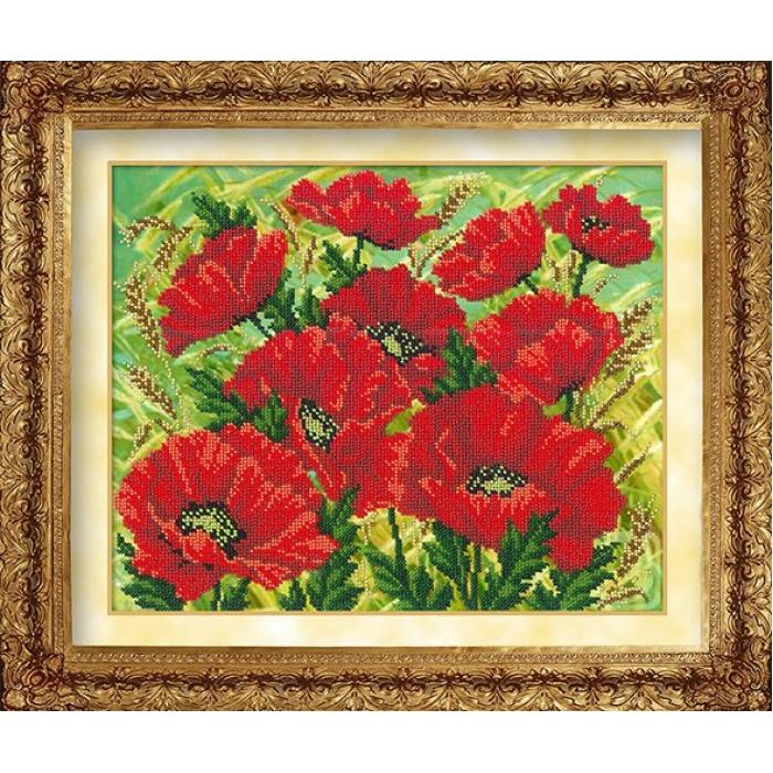 Набор для вышивания бисером РУССКАЯ ИСКУСНИЦА арт.1001 Красные маки 31х26 см