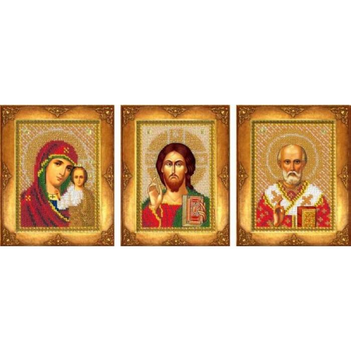Набор для вышивания бисером РУССКАЯ ИСКУСНИЦА арт.103 Три маленькие иконы 13х9,7 и 13х8,8 см