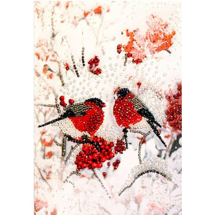 Набор для вышивания хрустальными бусинами ОБРАЗА В КАМЕНЬЯХ арт. 5518 Снегири (фрагмент) 22х30 см