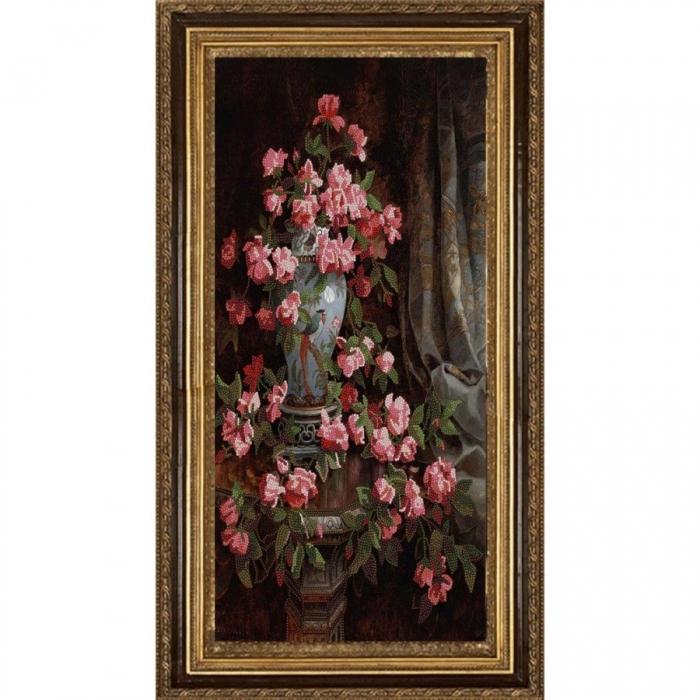 Рисунок на ткани (Бисер) КОНЁК арт. 8479 Китайская роза 25х45 см