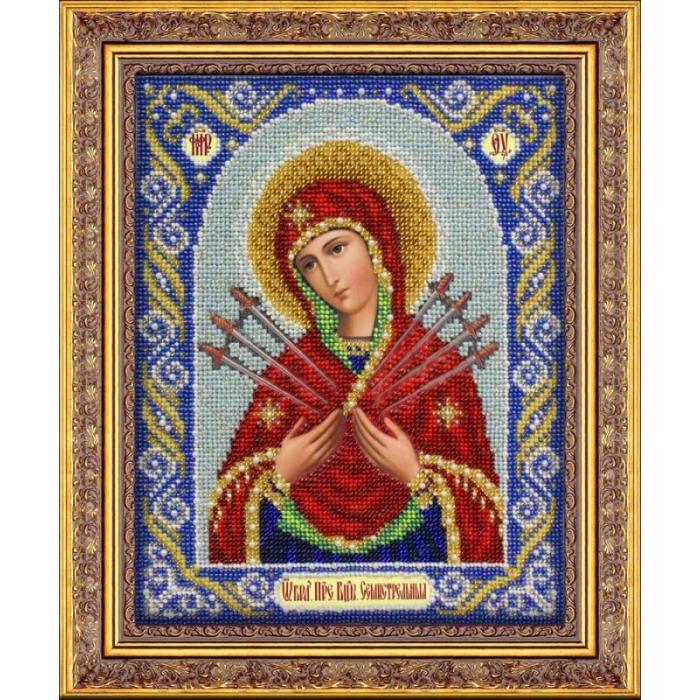 Набор для вышивания бисером ПАУТИНКА арт.Б-1026 Богородица Семистрельная 20х25 см