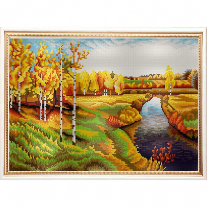 Рисунок на ткани (Бисер) КОНЁК арт. 9959 Золотая осень (И. Левитан) 29х39 см