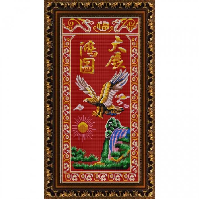 Рисунок на ткани (Бисер) КОНЁК арт. 9876 Летящий орел 25х45 см
