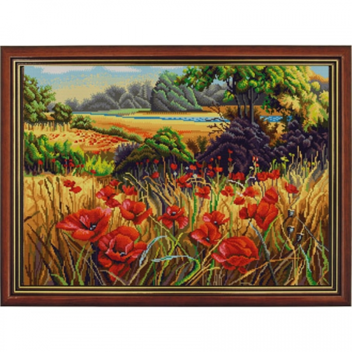 Рисунок на ткани (Бисер) КОНЁК арт. 9926 Поле маков 45х60 см