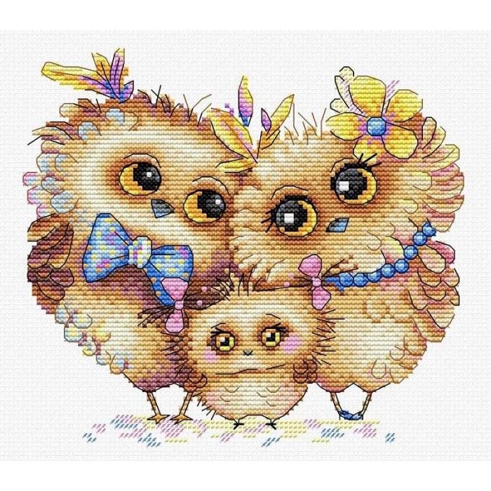 Набор для вышивания ЖАР-ПТИЦА арт.М-232 Пернатая семья 17х20 см