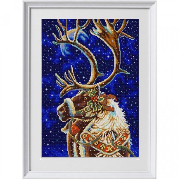 Рисунок на ткани (Бисер) КОНЁК арт. 1326 Новогодний олень 29х39 см