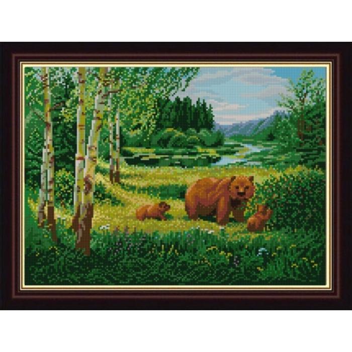Рисунок на ткани (Бисер) КОНЁК арт. 1233 Пейзаж с медведями 29х39 см