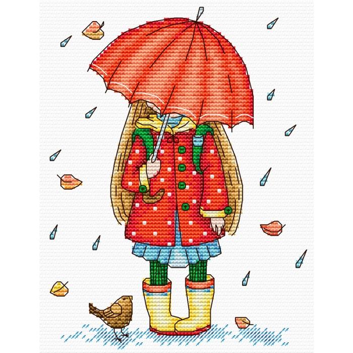 Набор для вышивания ЖАР-ПТИЦА арт.М-142 Осенняя прогулка 18х14см