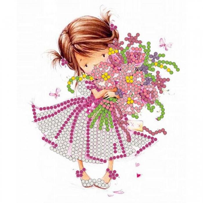 Рисунок на ткани (Бисер) КОНЁК арт. 8115 Розовый букет 10х12 см