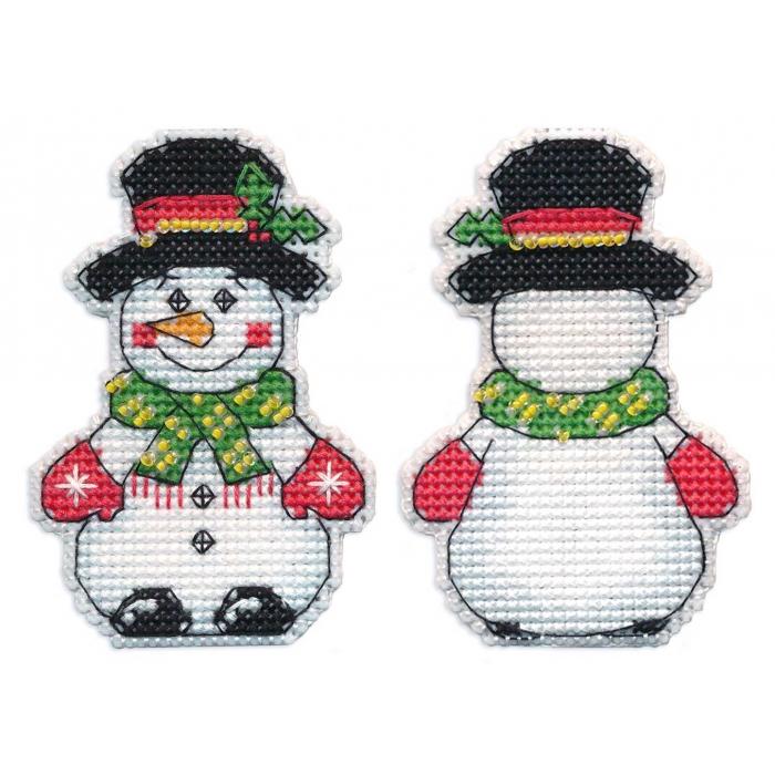 Набор для вышивания ОВЕН арт. 1248 Елочная игрушка.Снеговик 5,5х8см