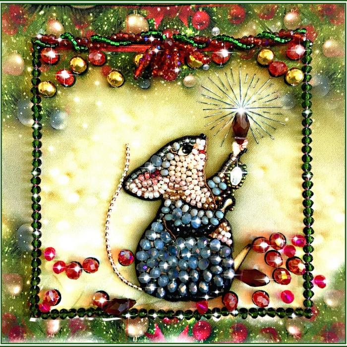 Набор для вышивания хрустальными бусинами ОБРАЗА В КАМЕНЬЯХ арт. 5542 Мышка - Соберушка (к прибавлению богатства) 12х12 см