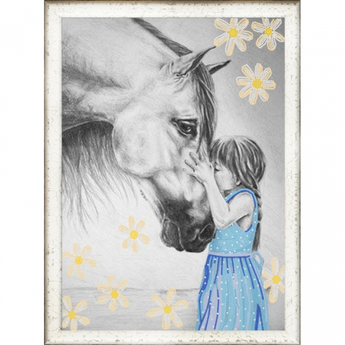 Рисунок на ткани (Бисер) КОНЁК арт. 8410 Девочка и лошадь 29х39 см
