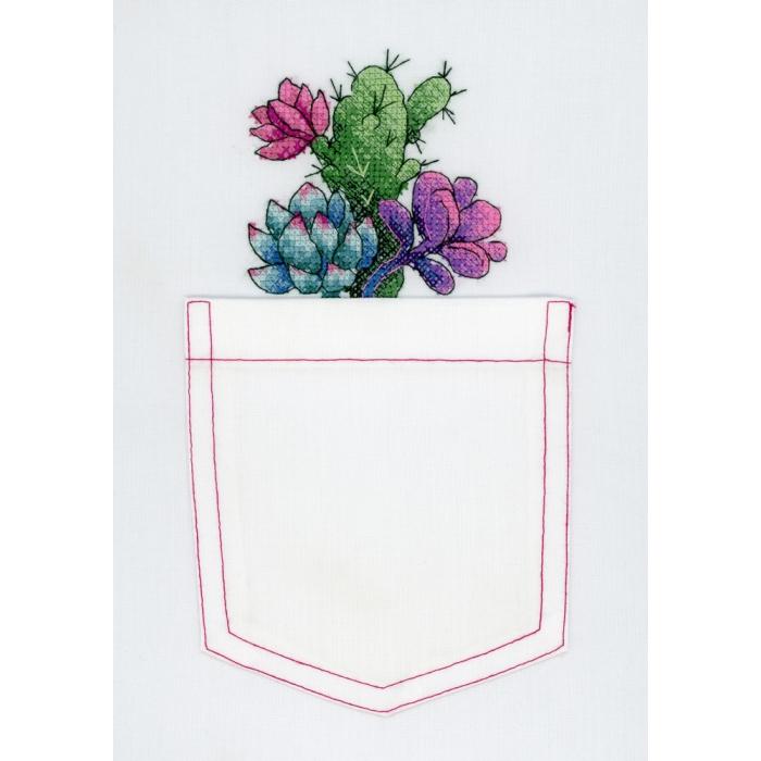 Набор для вышивания ЖАР-ПТИЦА арт.В-240 Кактус и суккуленты 8х8 см