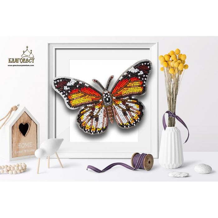 Набор для вышивки бисером 3-D БЛАГОВЕСТ арт.Б-029 Бабочка Danaus Chrysippus Alcippus 14х9 см