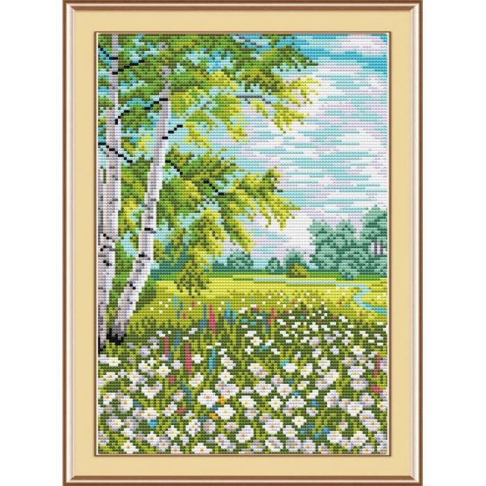 Набор для вышивания ЖАР-ПТИЦА арт.М-019 Хоровод ромашек 26х18 см