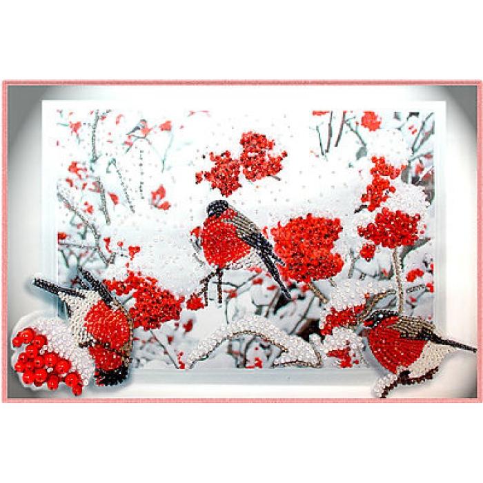 Набор для вышивания хрустальными бусинами ОБРАЗА В КАМЕНЬЯХ арт. 5519 Снегири 42х28 см
