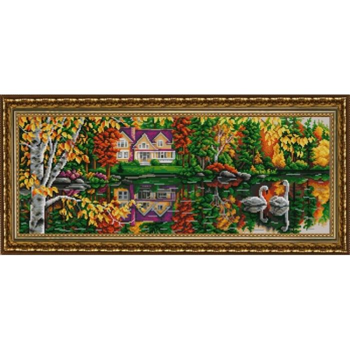 Рисунок на ткани (Бисер) КОНЁК арт. 9900 На пруду 25х65 см