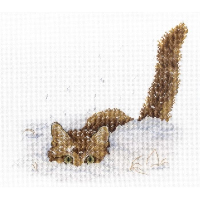 Набор для вышивания МП СТУДИЯ арт.НВ-557 Кот в снегу 20х25 см