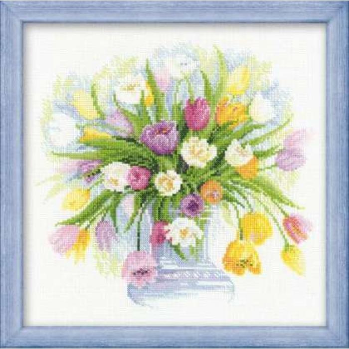 Набор для вышивания РИОЛИС арт.100/008 Акварельные тюльпаны 30х30 см