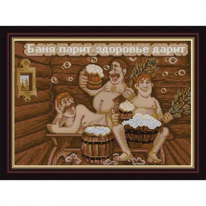 Рисунок на ткани (Бисер) КОНЁК арт. 1296 Баня парит - здоровье дарит 29х39 см