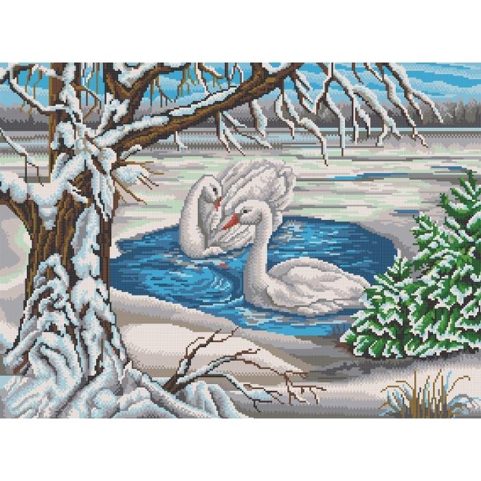 Рисунок на канве КОНЁК арт. 7817 Лебеди на пруду 45х60 см