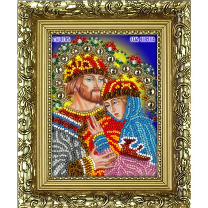 Набор для вышивания бисером (с рамкой) ВЫШИВАЕМ БИСЕРОМ арт.R5 Св.Петр и Феврония 9,5х12,5 см