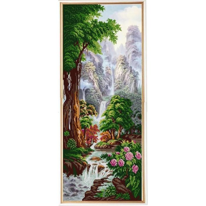 Рисунок на ткани (Бисер) КОНЁК арт. 1327 Водопад Хрустальный кулон 25х65 см