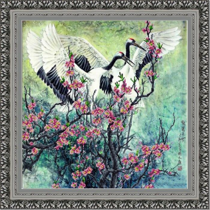 Рисунок на ткани (Бисер) КОНЁК арт. 9812 Журавушки 40х40 см