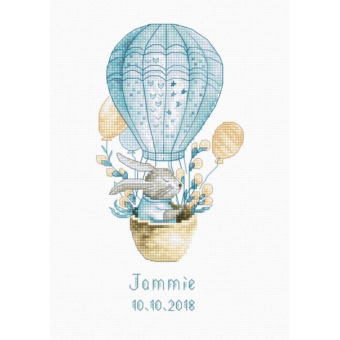 Набор для вышивания LUCA-S арт. B1150 Kролик на воздушном шаре 9х18 см