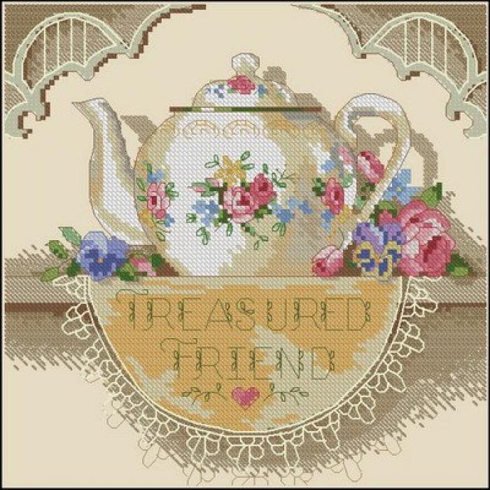 Набор для вышивания DIMENSIONS арт.DMS-06904 Кружевной чайничек 15х15 см