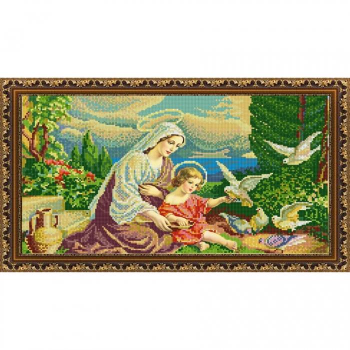 Рисунок на ткани (Бисер) КОНЁК арт. 9986 Мадонна и голуби 25х45 см