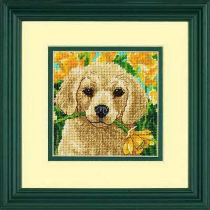 Набор для вышивания DIMENSIONS арт.DMS-07231 Щенок с цветком 13х13 см
