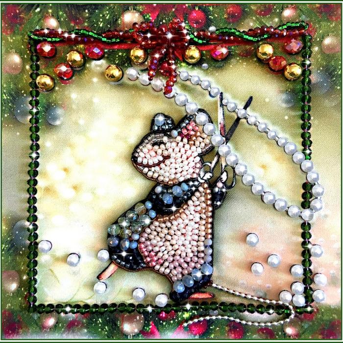 Набор для вышивания хрустальными бусинами ОБРАЗА В КАМЕНЬЯХ арт. 5543 Мышка - Шалунишка 12х12 см