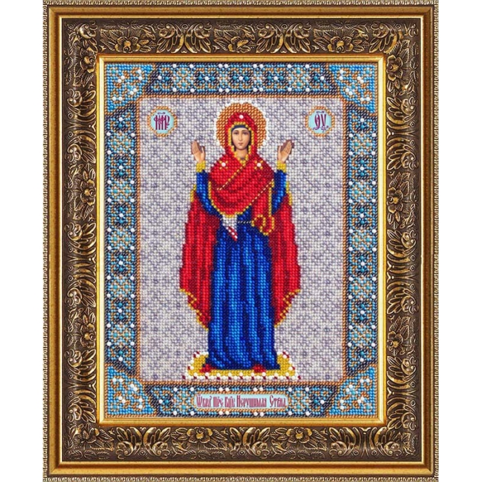 Набор для вышивания бисером ПАУТИНКА арт.Б-1028 Богородица Нерушимая стена 20х25 см