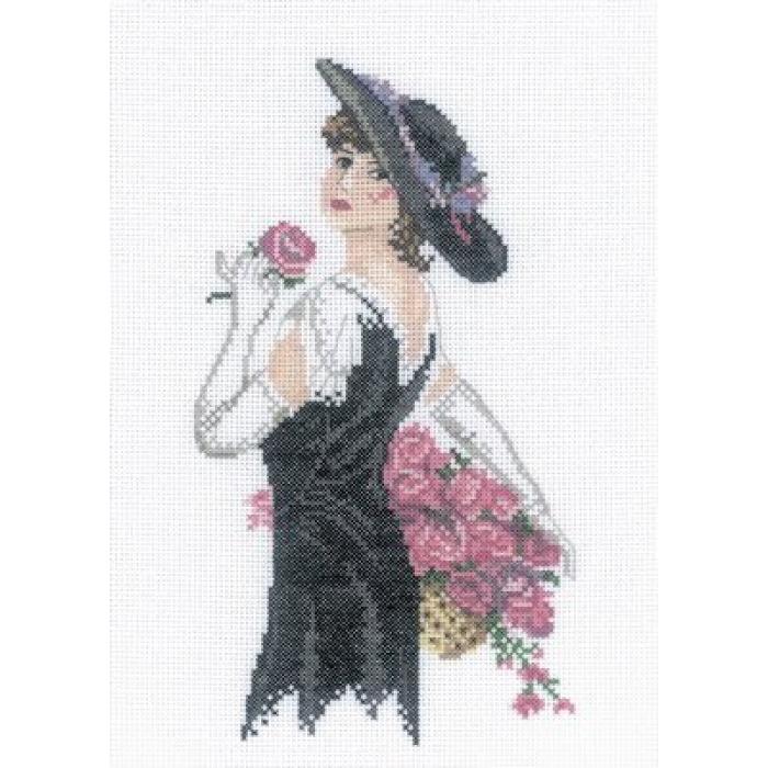 Набор для вышивания РТО арт.C158 Дама с розами 15х21 см