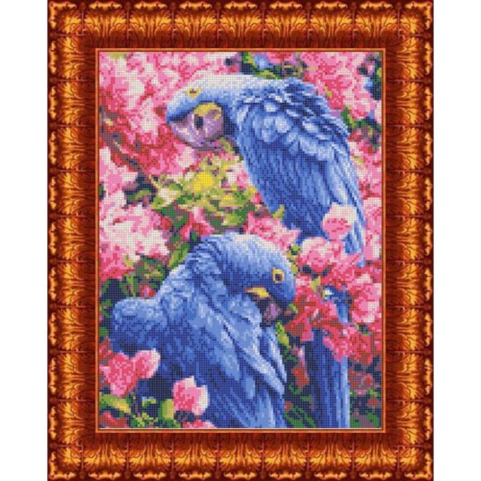 Канва с нанесенным рисунком КАРОЛИНКА арт. КК-015 Голубые ара 23х30 см