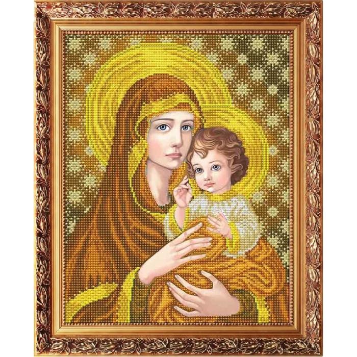 Рисунок на габардине СЛАВЯНОЧКА арт. ААМА-3006 Богородица с младенцем в золоте 28х38 см