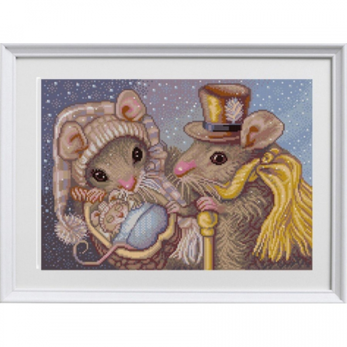 Рисунок на ткани (Бисер) КОНЁК арт. 1317 Семья мышек 29х39 см
